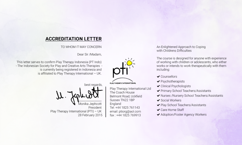 playtherapy - accreditation letter - the course design - retina